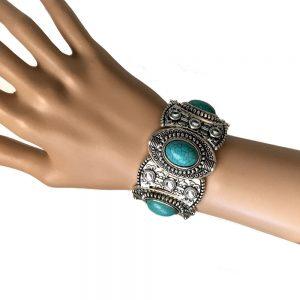 Silve-Tone-Classic-Stretch-Bangle-Bracelet-Fake-Turquoise-Boho-Style-362065286304