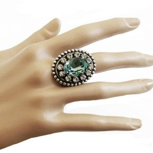 Silver-Plated-Green-Crystals-Adjustable-Cocktail-Ring-By-Clara-Beau-Made-In-USA-362016022664