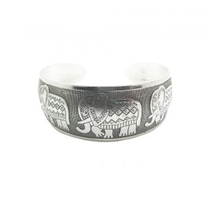 Silver-Tone-Handmade-Cuff-Bangle-Bracelet-Embossed-Indian-Elephants-172745770474