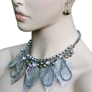 Silver-Tone-Leaf-Rhinestones-Statement-Bib-Necklace-Earrings-Set-Drag-Queen-172642451394