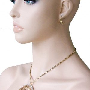 Spider-on-Web-Medallion-With-Rhinestone-Gold-Tone-Pendant-Necklace-Earrings-Set-361912267424