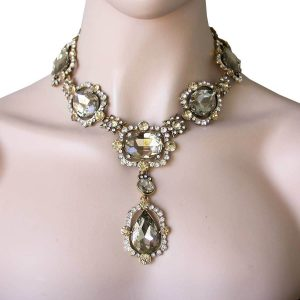 Statement-Necklace-Light-Brown-Nude-Glass-Crystal-Pageant-Drag-QueenBride-172805483944