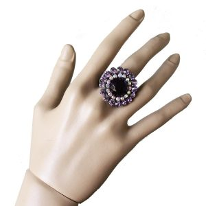 Stretch-Cocktail-Ring-Purple-Glass-Lavender-AB-Crystals-Drag-Queen-172220446884