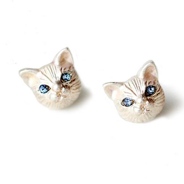 Very Small Tiny White Cat Face Stud Earrings, Blue Rhinestones Eyes
