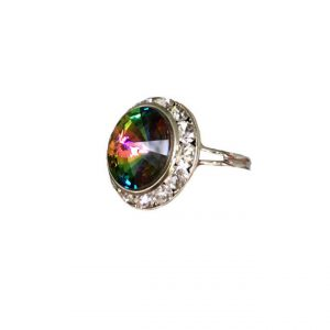 075-Diameter-Silver-Tone-Adjustable-Iridescent-Green-Austrian-Crystal-Ring-361994327525