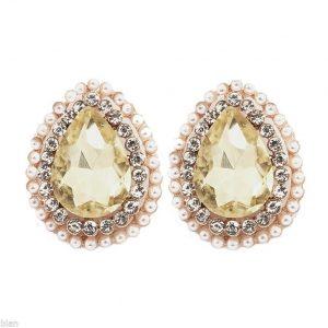 075-Drop-Yellow-Clear-Rhinestones-Post-Earrings-Gold-Tone-Pierced-Ears-361573301845