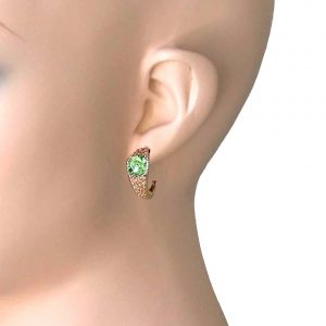 075-Long-Light-Green-Crystals-Huggie-Earrings-Pierced-Ears-Bright-Gold-tone-361964924785