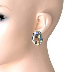 1-Drop-Oval-Aurora-Borealis-Glass-Clip-On-Earrings-Pageant-Bridal-Drag-Queen-172868736425