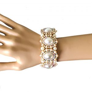 125-W-Victorian-Inspired-Faux-Pearl-Crystal-Stretch-Bracelet-Bridal-Pageant-361986193315