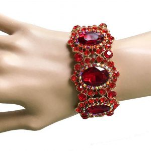 125-Wide-Victorian-Inspired-Red-Glass-Stretch-Bracelet-Drag-Queen-Pageant-361975547765