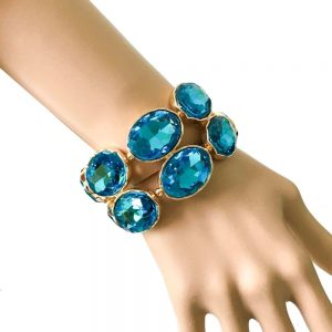 158-Wide-Turquoise-Pool-Blue-Glass-Stretch-Bracelet-Drag-Queen-Pageant-361922103745