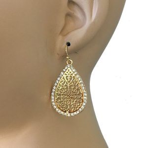 2-Drop-Filigree-Earrings-By-Anne-Klein-01oz-LIGHTWEIGHT-Clear-Crystals-362073472455