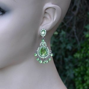 225-Long-Light-Green-Lucite-Crystal-Pierced-Earrings-Pageant-Bridal-361859762745