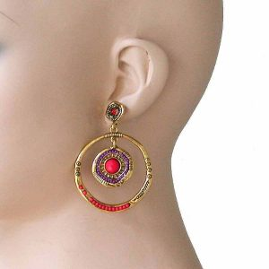 25-Long-Antique-Gold-Tone-Orange-Beads-Hoop-Post-Earrings-Pageant-Hip-Hop-172493844045