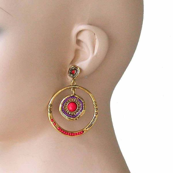 "2.5"" Long Antique Gold Tone Orange Beads Hoop Post Earrings, Pageant, Hip Hop"