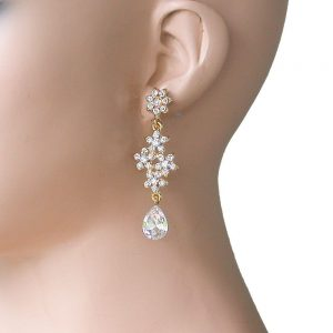 25-LongGold-Tone-Floret-Earrings-Clear-Crystals-Pageant-Drag-Queen-Bridal-361899126525