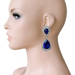 275-Long-Clip-On-Earrings-Royal-Blue-Glass-Rhinestones-Drag-Queen-Pageant-172646603775