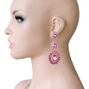 275-Long-Linear-Clip-On-Earrings-Rose-Pink-Rhinestones-Drag-Queen-Pageant-362023066555