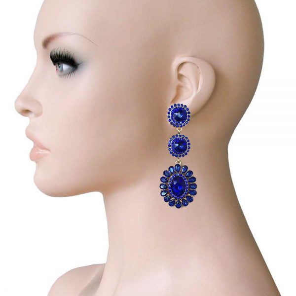 "2.75"" Long Linear Clip On Earrings, Royal Blue Rhinestones, Drag Queen, Pageant"