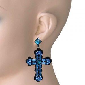 3-Long-Blue-Acrylic-Rockabilly-Goth-Cross-Earrings-Pageant-Pierced-172491032635
