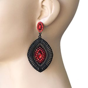 3-Long-Deco-BOHEMIAN-Inspired-Earrings-Red-Rhinestones-Pageant-Drag-Queen-361972915705