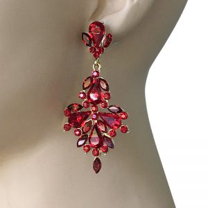 3-Long-Designer-Inspired-Earrings-Red-Rhinestones-Pageant-Drag-Queen-362012231485
