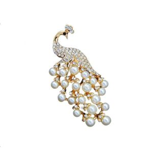 3-Tall-Faux-Pearl-Clear-Rhinestones-Golden-Peacock-Brooch-Pin-Safety-Catch-361961435125