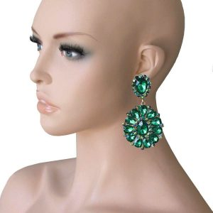 325-Long-Cluster-Clip-On-Earrings-Green-Rhinestones-Drag-Queen-Pageant-362017286315