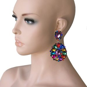 325-Long-Cluster-Clip-On-Earrings-Multicolor-Rhinestones-Drag-Queen-Pageant-172693654565