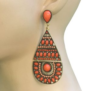 35-Drop-Cascade-BOHO-Earrings-Orange-Lucite-Pageant-Gold-tone-Pierced-Ears-362014153955