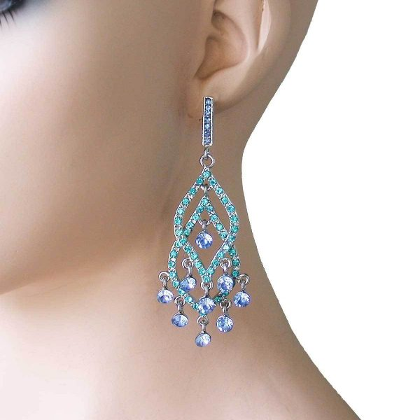"3.5"" Long, Shades of Blue Rhinestones Chandelier  Earrings, Pageant, Pierced"