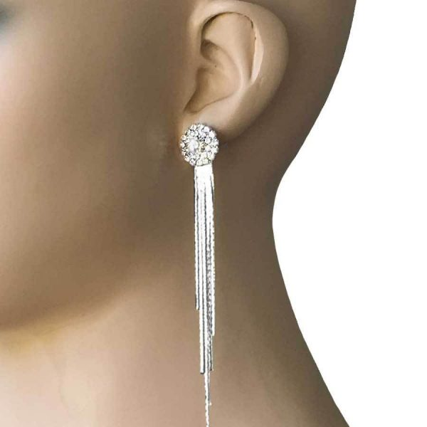 "4"" Long Bright Silver Tone Linear Earrings, Clear Rhinestone, Lightweight,Bridal"