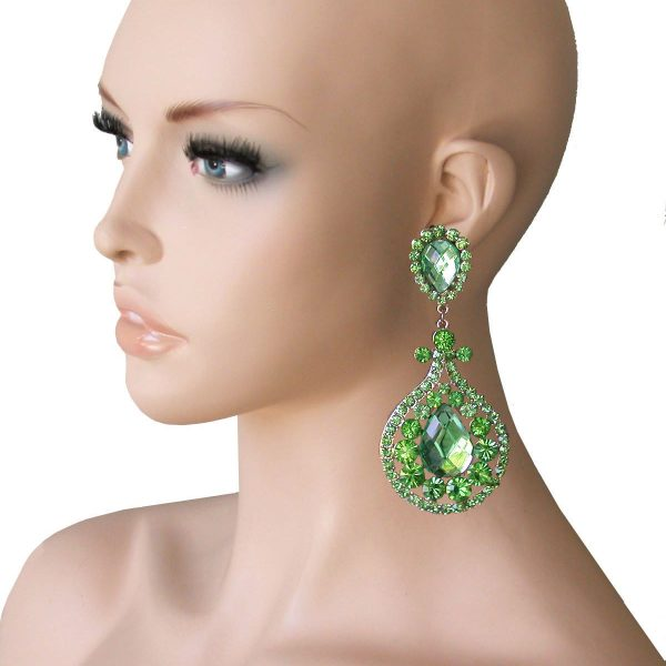 "4"" Long, Green Rhinestones, Clip On earrings, Pageant, Drag Queen, Bridal"