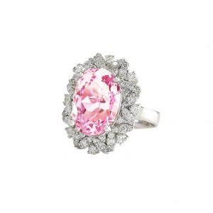 536-CT-Lab-Created-Pink-Kunzite-Clear-CZ-925-Sterling-Silver-Ring-Size-7-361907194225