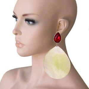 55-Long-Red-Glass-Golden-Textured-Metal-Statement-Earrings-Hip-Hop-Urban-172479313555