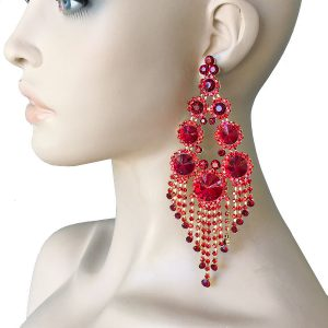 575-Long-Red-Crystals-Huge-Statement-Earrings-Pageant-Showgirl-Drag-Queen-362053278135