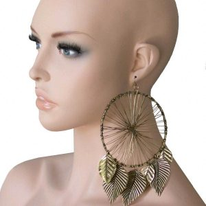 65-Antique-Gold-Tone-Long-Huge-Statement-Hoop-Earring-LeafHip-HopDrag-Queen-172490674085