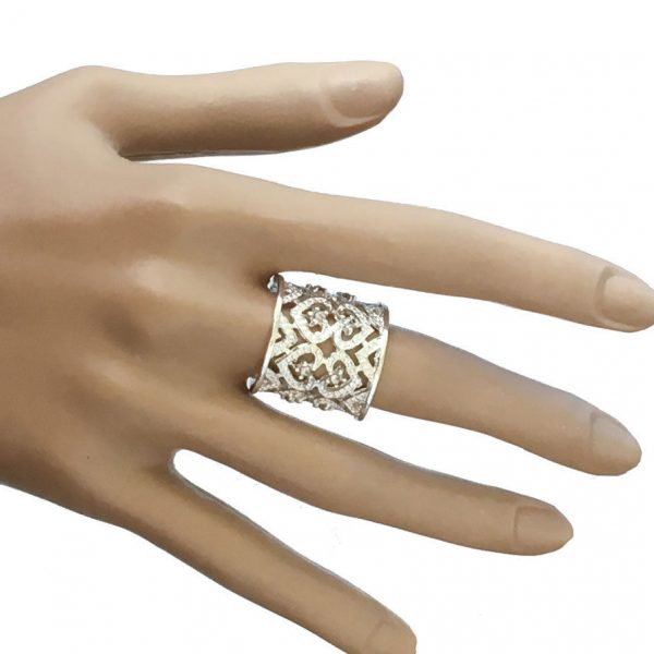 """7/8"""" Wide Bright Silver Tone Adjustable Filigree Statement Ring, BOHO, Party"""