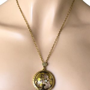 Antique-Gold-Bronze-Tone-Fancy-Magnifier-Pendant-Chain-Necklace-Rhinestone-362092462375