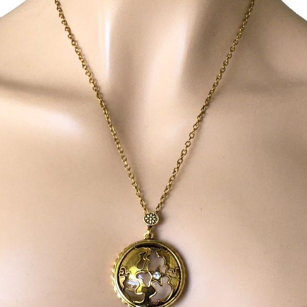 Antique Gold-Bronze Tone Fancy Magnifier Pendant Chain Necklace, Rhinestone