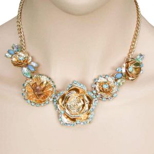 Aqua-Blue-Rhinestones-Floret-Necklace-Earring-Set-Bridal-Pageant-Drag-Queen-172787906495