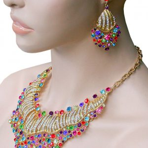 Bib-Statement-Necklace-Earrings-Set-Multicolor-Crystals-Pageant-Drag-Queen-362096998885