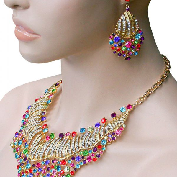 Bib Statement Necklace Earrings Set  Multicolor Crystals Pageant, Drag Queen