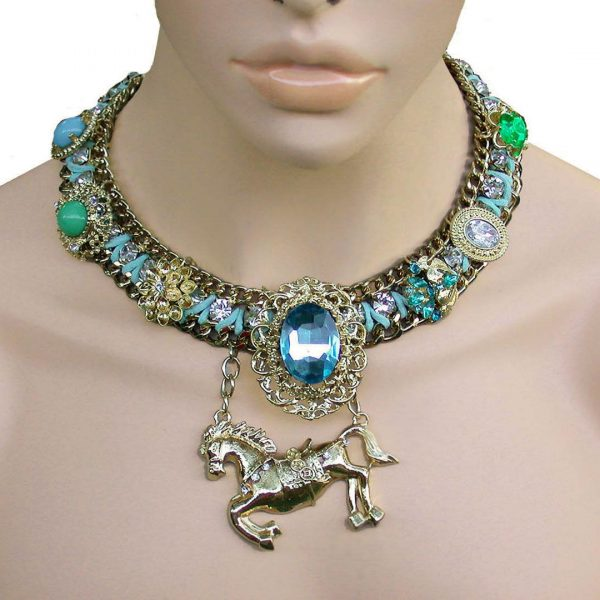 Blue Green Statement Necklace, Horse Pendant, Lucite & Glass, Drag Queen,Pageant