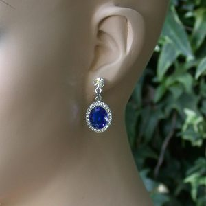 Blue-Lucite-Bead-Clear-Crystal-Approximately-1-Earrings-Pierced-Light-Weight-361473797575