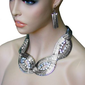 Bright-Silver-Tone-Mesh-Chain-Clear-Crystals-Necklace-Earrings-Pageant-Urban-172266948295
