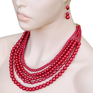Burgundy-Red-Pearled-Lucite-Beads-Multistrand-Multilayered-Necklace-Earrings-362075710515