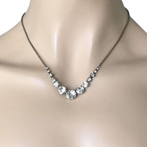 Clear-Crystal-Dainty-Classy-Necklace-By-Sorrelli-Antique-Silver-Tone-Bridal-362034808715