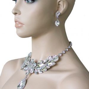 Clear-Glass-Beads-Victorian-Inspired-Necklace-Set-Drag-Queen-Pageant-Bridal-362103647465