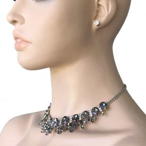 Clustered-Dark-Gray-Rhinestones-Evening-Necklace-Earrings-Pageant-Bridal-362071445995